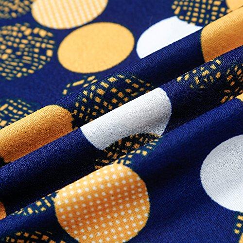 Women's Maxi MUDA Long Blue Neck WIND Sleeve Dot Half Polka Swing Autumn Round Dress Fgvw5gq