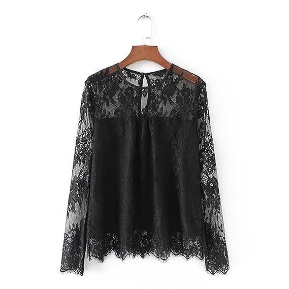 1ff7a42b DEELIN Camisa De Encaje Transparente Transparente Vintage De Mujer Camisa  De Cuello Alto De Manga Larga