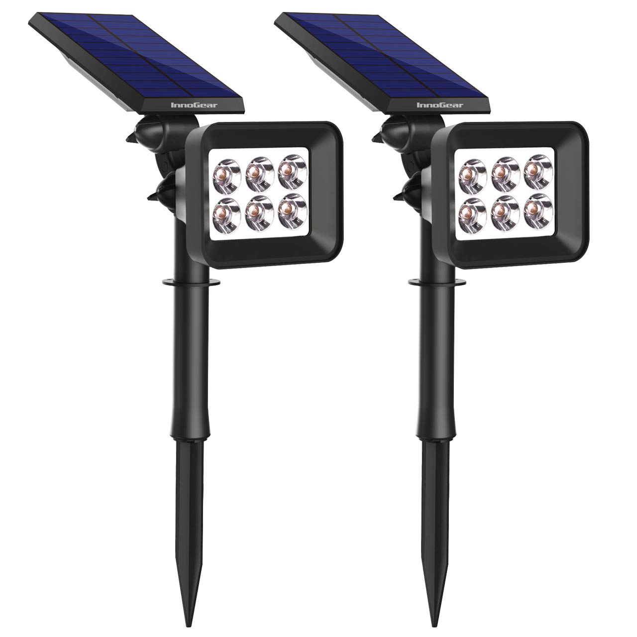 InnoGear Upgraded 6 LED Solar Landscape Spotlights 2-in-1 Wireless IP65 Waterproof Auto On/Off Outdoor Solar Landscaping Lights for Yard Garden Driveway Pathway Pool, Pack of 2 (White Light) by InnoGear