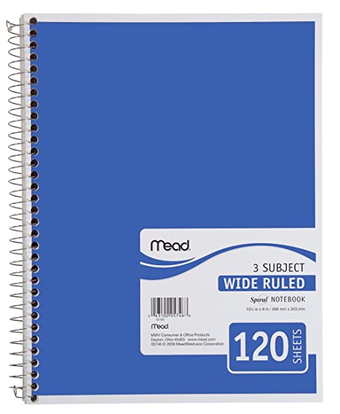 Amazon Mead Spiral Notebook 3 Subject Wide Ruled Paper – Notebook Paper