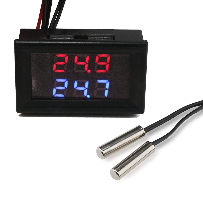 Termómetro Digital,de doble pantalla,2 piezas Sensor de temperatura NTC,DC 4-28V,Display LED medidor de temperatura Medidor,para coche,refrigerador,congelador