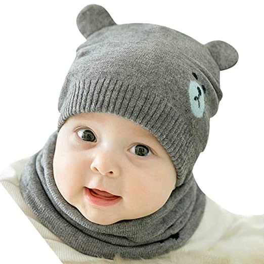 kaiCran Newborn Baby Cartoon Cotton Cap Fetal Cap Beanie Hat with Scarf Two Piece Set (