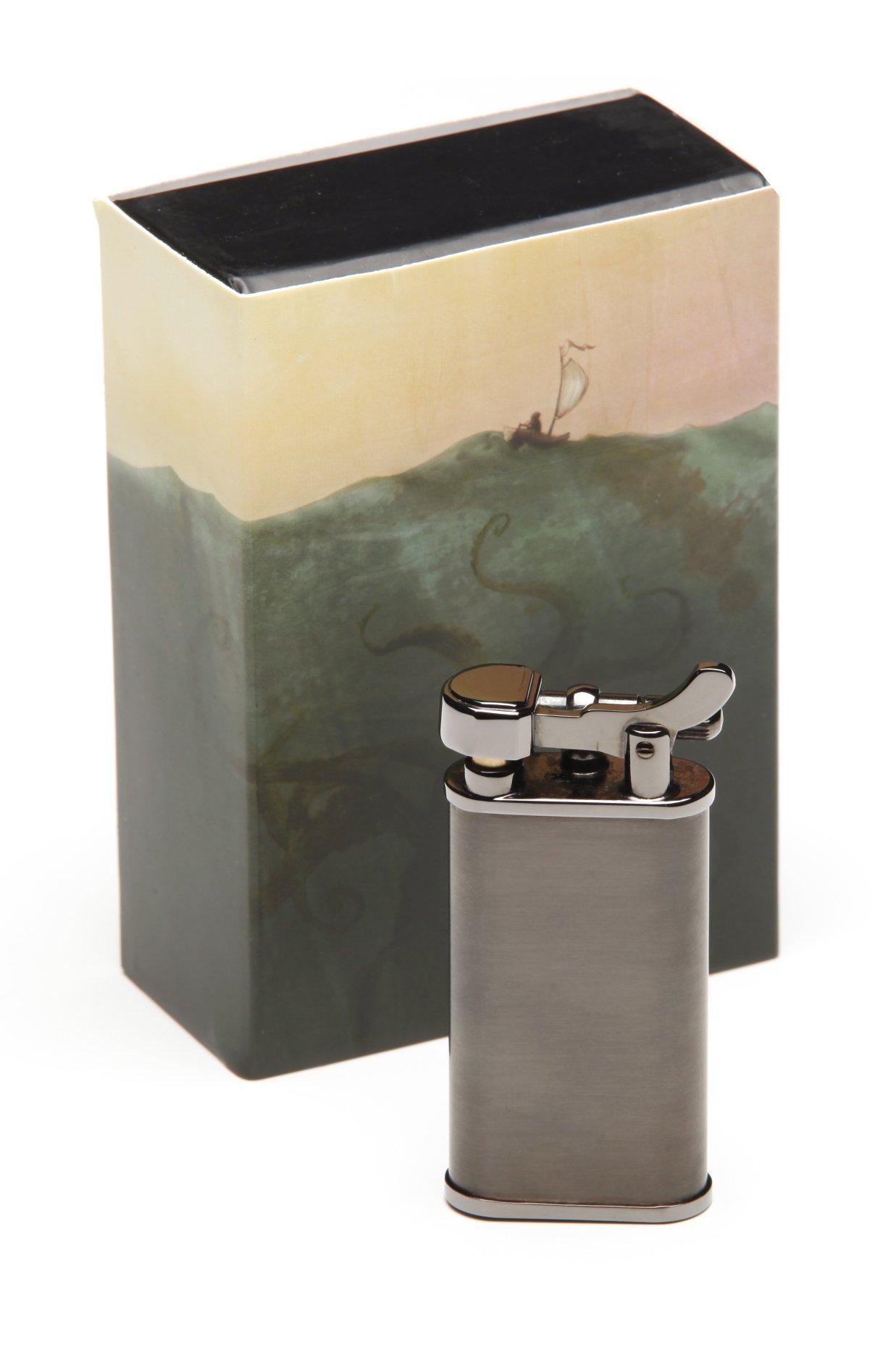 Kiribi Kabuto Black Nickel Pipe Lighter