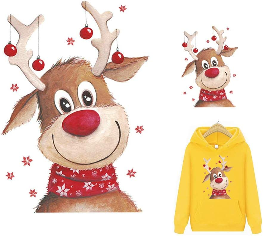 Deer Iron On Patches Heat Transfer Decals Cute Elk Christmas Animals A-Level Washable DIY for Jackets Sweatshirt Jeans Coats Decorations Stickers 2PCS