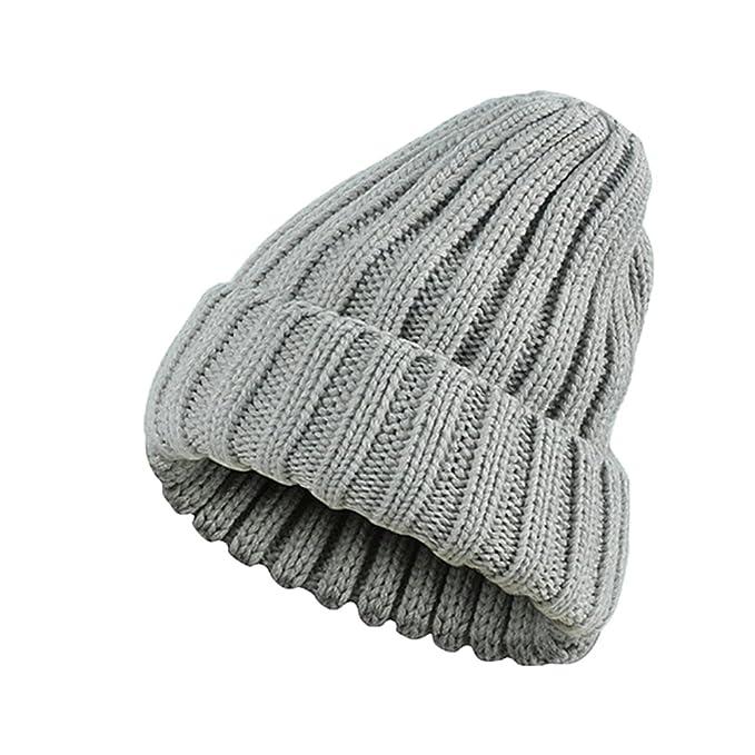 OULII Berretto invernale in lana Berretto invernale per uomo Donna Slouchy  per sci (grigio chiaro bbe83ff2ea80