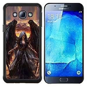 TECHCASE---Cubierta de la caja de protección para la piel dura ** Samsung Galaxy A8 ( A8000 ) ** --Muerte de Giro Black Wings Bruja