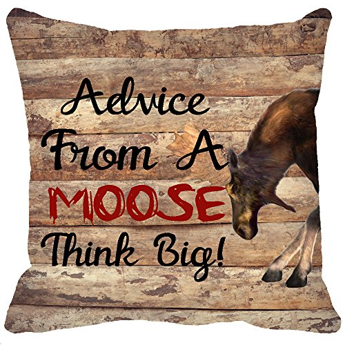 Two Sided Printing Retro Vintage Wood Grain Wild Animals Black Deer Buck Funny Sayings Advice From A Moose Think Big New Home Decorative Cotton Throw Cushion Cover Pillow Case Sofa Square 18 Inches