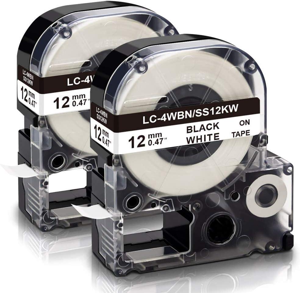 Label Tape 12mm SCHWARZ-GOLD für EPSON LabelWorks LW-400