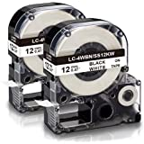 "Absonic Compatible Label Tape Replacement for LK-4WBN LC-4WBN LC 4WBN9 SS12KW 12mm Cartridge for Epson LabelWorks LW-300 LW-400 LW-500 LW-600P LW-700 Label Maker, Black on White, 1/2"" x 26', 2-Pack"