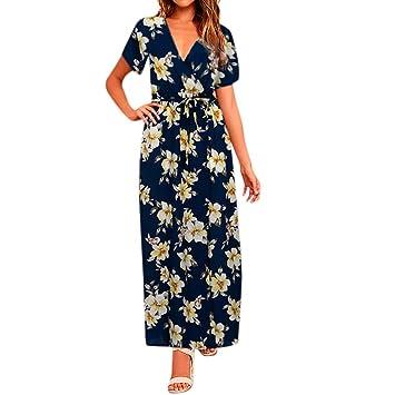 Women Holiday Dresses, Saihui Bohemian Hawaii Style Ladies High Waist Deep V-Neck Floral