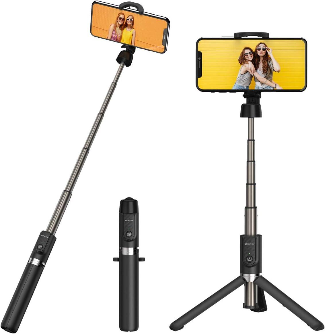 ATUMTEK Trípode Palo Selfie Bluetooth, Mini Palo para Selfies Extensible con Mando a Distancia Bluetooth Inalámbrico para iPhone XS MAX/XR/XS/X, iPhone 8/8 Plus, Samsung, Xiaomi, Huawei y Más