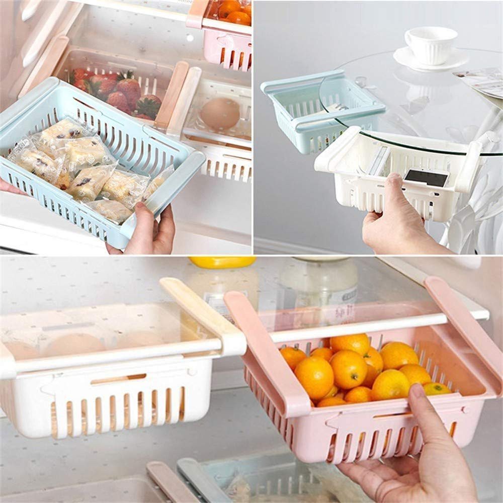Cassetto estraibile per supporto per congelatore per frigorifero Rack a strati divisori per frigorifero 4pcs, 20.5x16cm Rack di stoccaggio regolabile