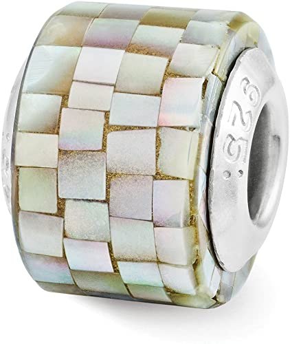 Sterling Silver Reflection Black Mother of Pearl Mosaic Bead