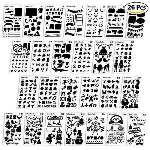 Bullet Journal Stencil 26 PCS Plastic Planner Set for Journal/Notebook/Diary/Scrapbook DIY Drawing Template Journal Stencils 4x7 (Planner Template)