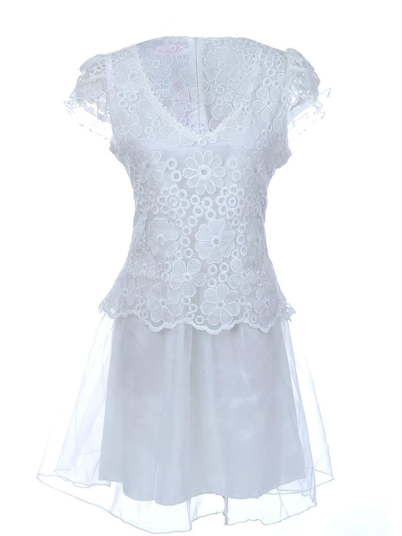 Anna-Kaci S/M Fit White Daisy Floral Lace Semi Formal Party Sheath Dress