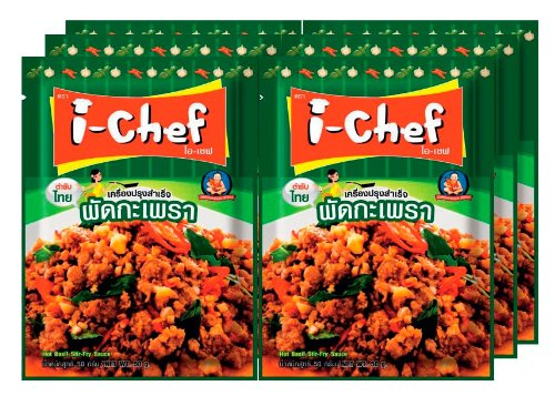 I-chef Hot Basil Stir-fry Sauce Thai Style 50g X 6 Packs From Thailand, Free Shipping