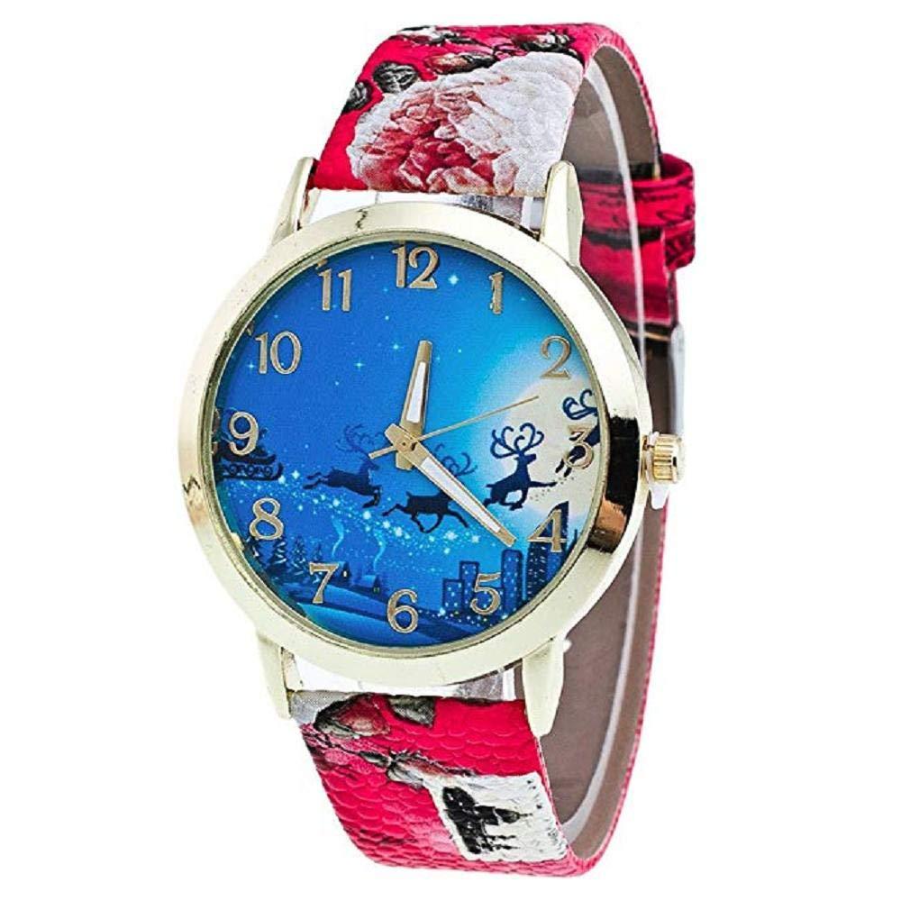 Scpink Mujeres Elk Patrón de Navidad Nuevo Analog Ladies Relojes de Pulsera Relojes de niña Relojes Femeninos de Cuero (Rojo): Amazon.es: Relojes