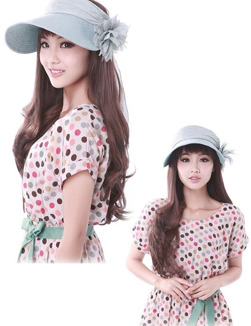 Summer Sun Visor UV Protection Wide Brim Gauze Flower Hat for Outdoors Lujuny Women Top Open Sun Cap