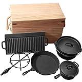 Grillmaster Gusseisen Set 9teilig Dutch Oven Feuertopf Camping Grill Lagerfeuer Topf mit Deckelheber eingebrannt