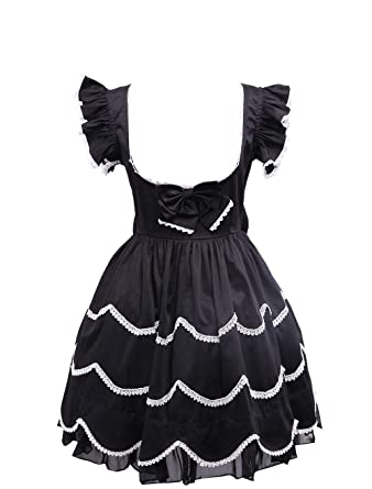 7a29586f0d Antaina Black Cotton Ruffle Lace Low-Cut Sexy Gothic Lolita Cosplay Dress
