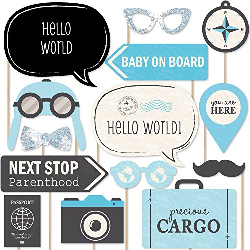 Big Dot of Happiness Precious Cargo - Blue - Boy Baby Shower Photo Booth Props Kit - 20 Count