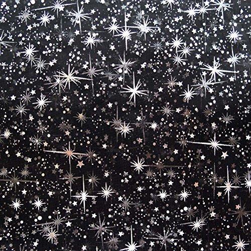 Black Sheer Fabric - Star Bursts Sheer Organza 58 Inch Wide Fabric by the Yard (F.E. (Black)