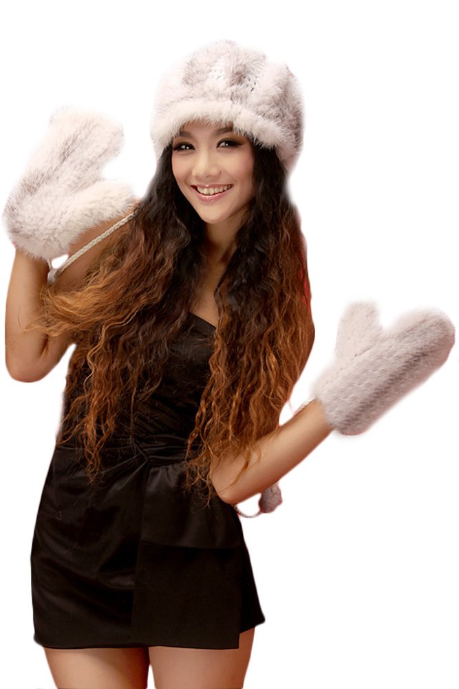Queenshiny Women's New Fashion 100% Mink Fur Knitted Mittens-One Size-Gray White
