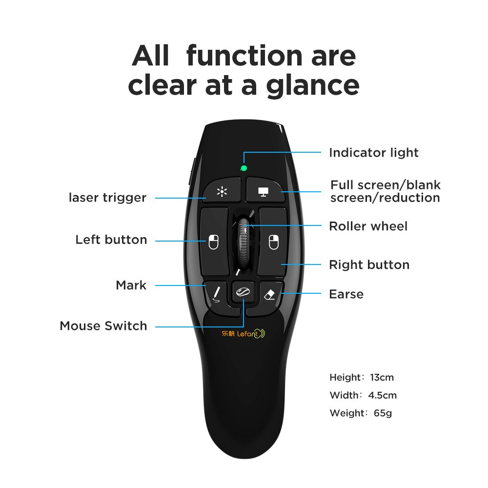 Lefant F8 2.4GHz Wireless Remote Presenter with Red Laser Pointer Air Mouse with Scroll Wheel for PPT Keynote Presentation by Lefant (Image #2)