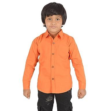 SPARK orange Color Cotton Kids Shirt,(Size-16): Amazon in: Clothing