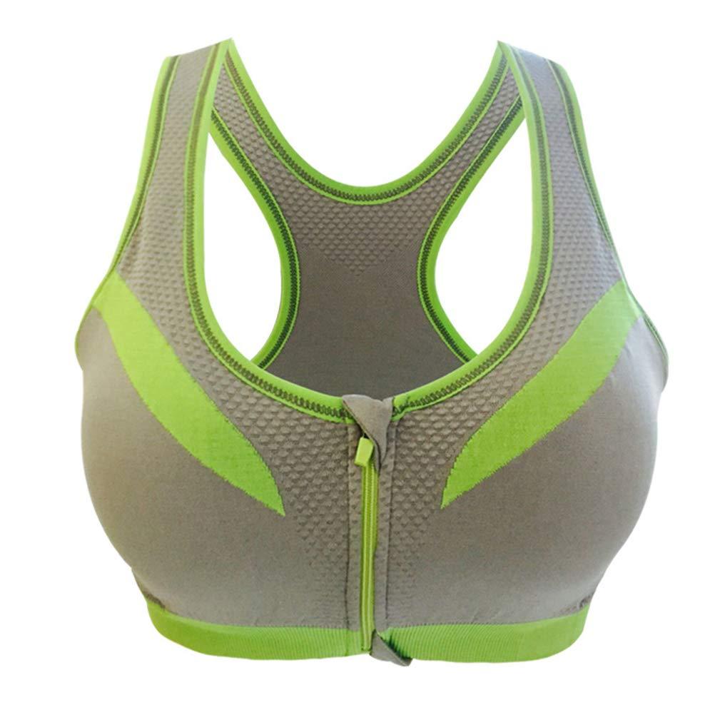 LIOOBO Cerniera Anteriore Sport Reggiseno Donne Fitness Yoga Reggiseno Push Up Imbottito Top Intimo Gilet da Corsa Palestra Allenamento Corsa Top Sportswear (Grigio/L)
