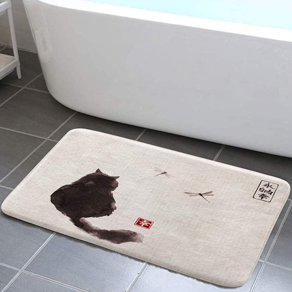 EdCott Tappeti bagno stile giapponese tradizionale pittura a inchiostro giapponese bagno Gatto nero soffice guardando oltre le libellule bagno vintage antiscivolo Tappetini vasca bambini 15.7x23.6in