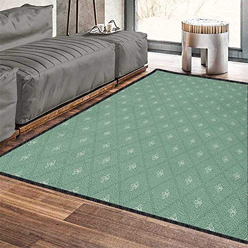 (Fleur De Lis Super Soft & Cozy Rugs,Abstract Geometric Pattern with Rectangles and Royal Lilies Floral Elements Provides Protection and Cushion for Floors Reseda Green 71