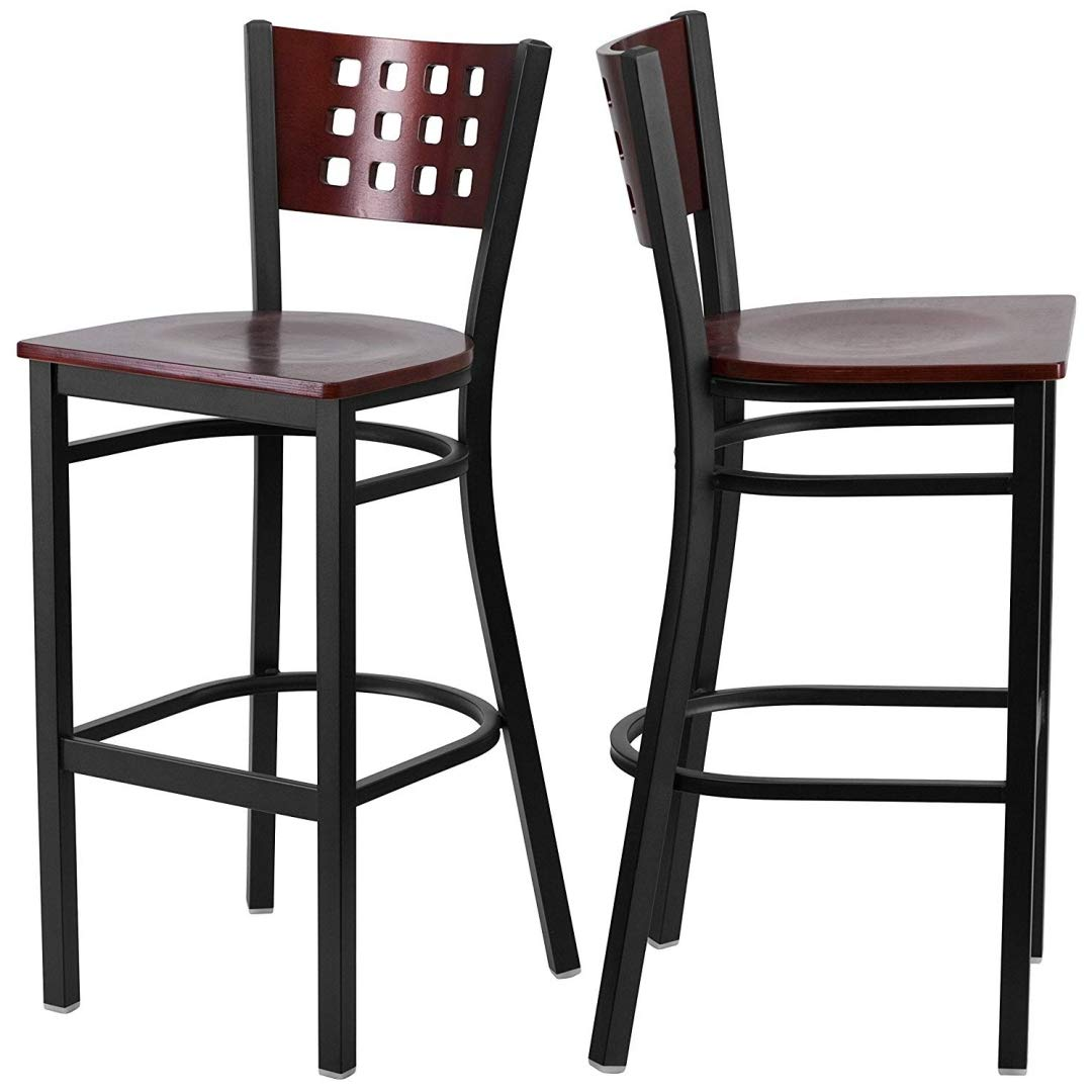 Modern Style Metal Dining Bar Stools Pub Lounge Restaurant Commercial Seats Mahogany Wood Cutout Back Design Black Powder Coated Frame Finish Home Office Furniture - Set of 2 Mahogany Wood Seat #2207