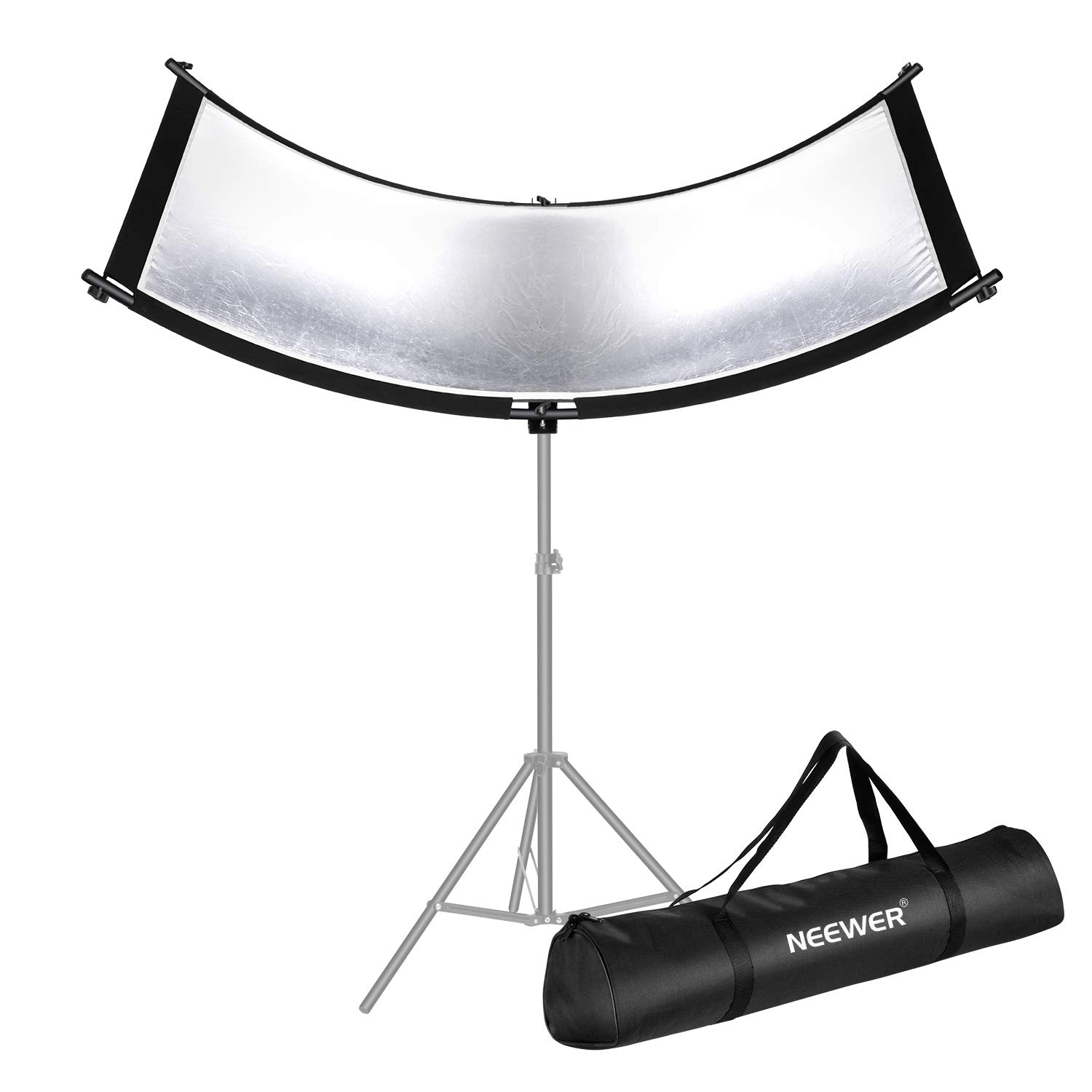 Neewer Clamshell Light Reflector/Diffuser for Studio and Photography Situation with Carry Bag, 66×24 Inch Arclight Curved Light Reflector, Black/White/Gold/Silver, Eyelighter Reflector for Photography by Neewer
