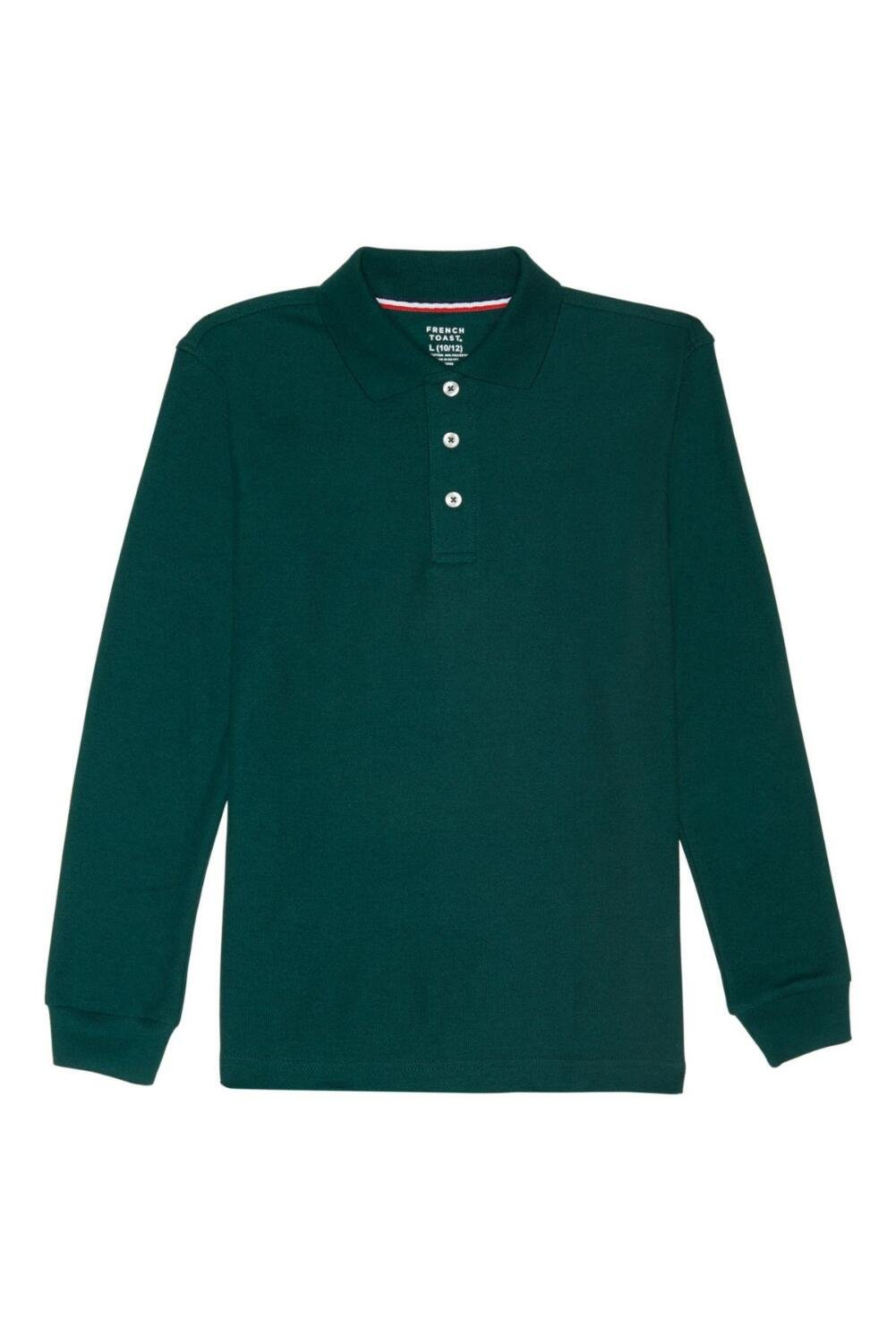 French Toast Long Sleeve Pique Polo Boys Green 18 by French Toast