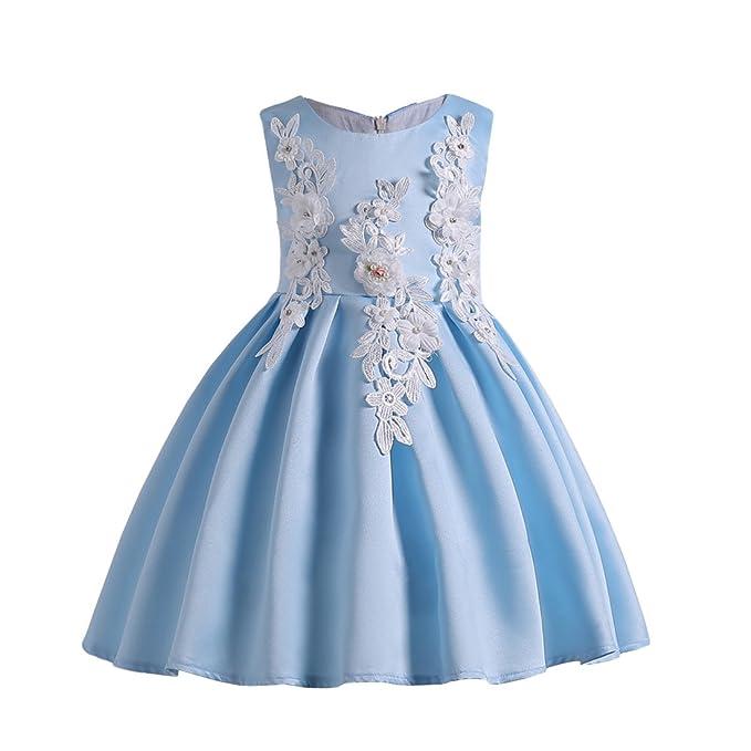 Ankoee Vestido de Fiesta de Falda de Princesa para Niñas Vestido azul banquete 3-10