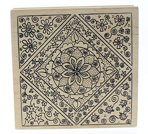 Magenta Floral Flower and Swirl Frame Stamp Collage Wooden Rubber Stamp