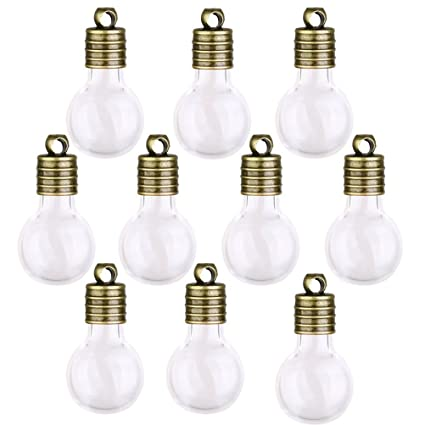 0aaa07d8b752 WINOMO Mini Glass Wish Bottles Jars with Cap, Bulb Shaped, Pack of 10  (Clear)