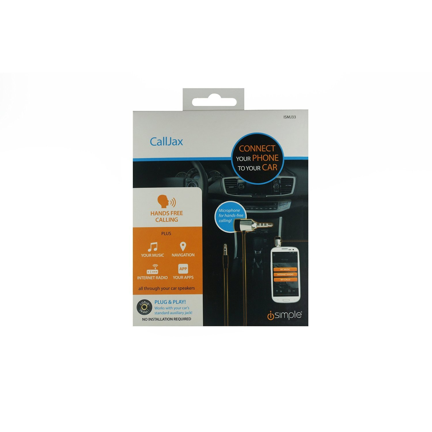 Black Frustration-Free Packaging iSimple ISMJ33 Hands Free Plug and Play Car Kit