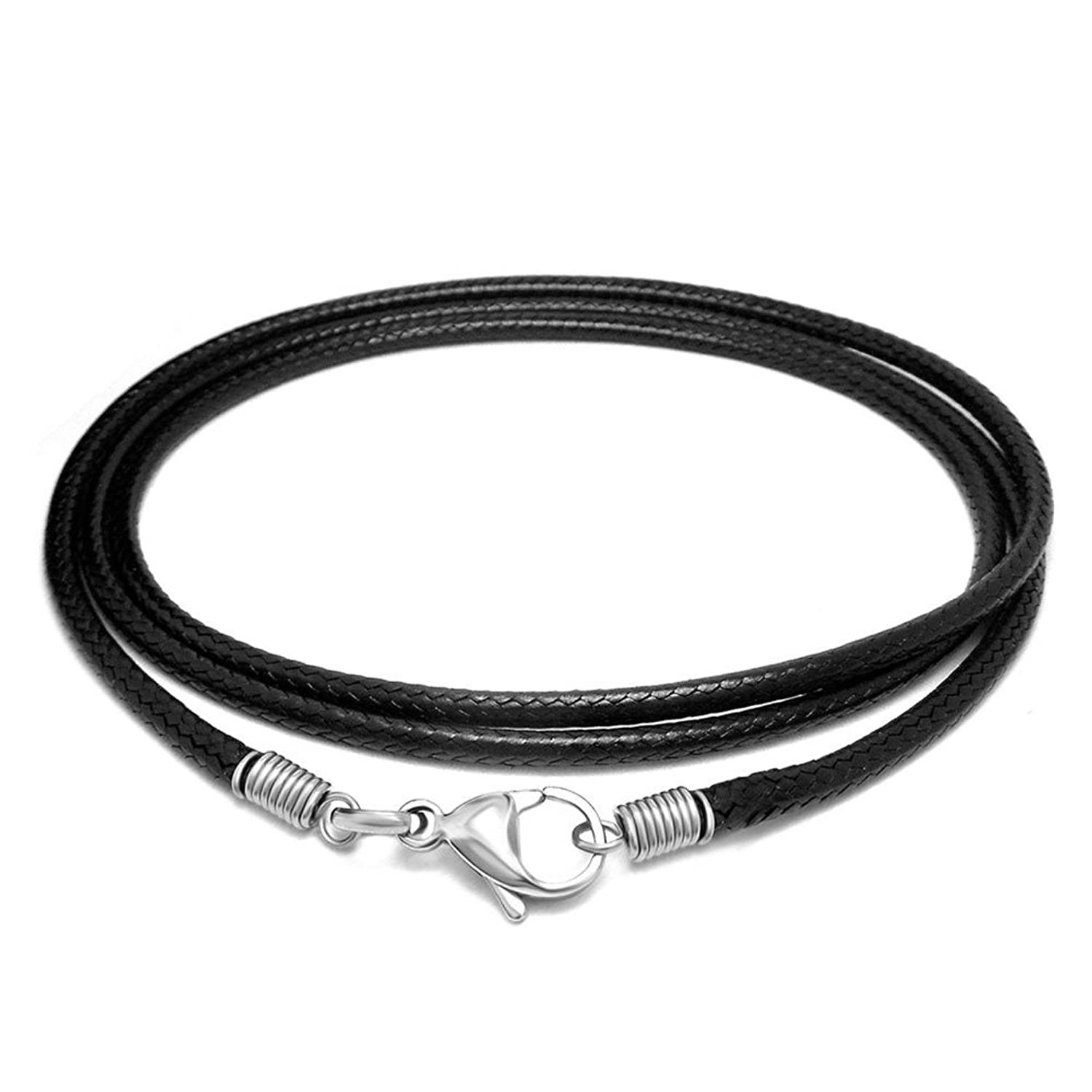 Miraculous Garden 2.5mm Braided Black Leather Cord Rope Chain Necklace with Stainless Steel Lobster Clasp(18-24 inch)