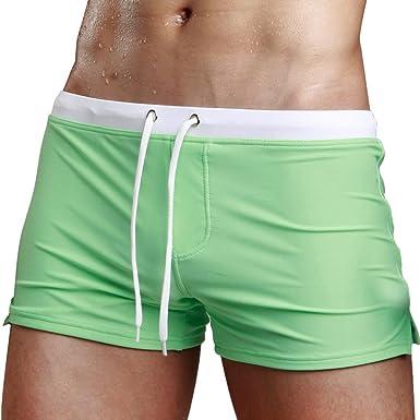 29c586aeb9 QHJ Sexy Mens Boys Beach Hotspring Surfing Swimming Trunks Pants Swimwear  Shorts Green: Amazon.co.uk: Clothing