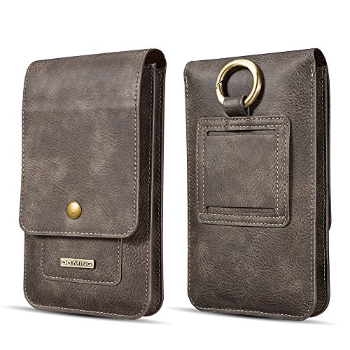(Waist Pack SITCO Leather Wallet Phone Case Vintage Case Waist Holster for All Cellphone below 6.5 Inch)