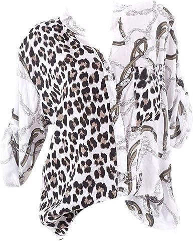 VJGOAL Blusa para Mujer Moda Casual Estampado de Leopardo Manga Larga Cuello en V Botones Camisas Tallas Grandes Tops Sueltos S-5XL: Amazon.es: Ropa y accesorios
