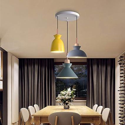 YJFFAN Macaron Moda Creativa 3 Cabezas Luces Colgantes ...