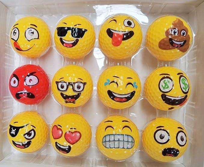 Funny Emoji Golf Balls for Range Golf Ball, Unique Professional Practice Golf Balls, 12 Emoji Golfer Novelty Golf Gift for All Golfers, Unique Golf Gifts for Men, Dads, Women, Kids, Golf Accessories