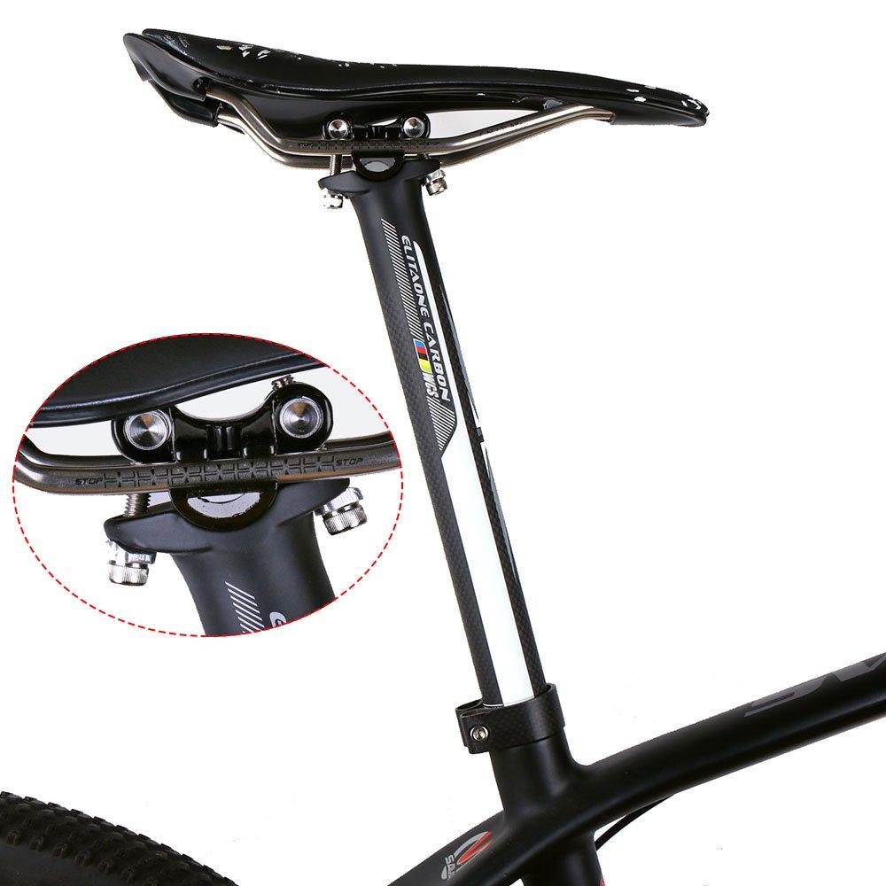 350 wei/ß Logo Elita One Carbon Fahrrad Sattelst/ütze Road Bike und mountain Bike 3 K Sattelst/ütze /Ø27.2//31,6