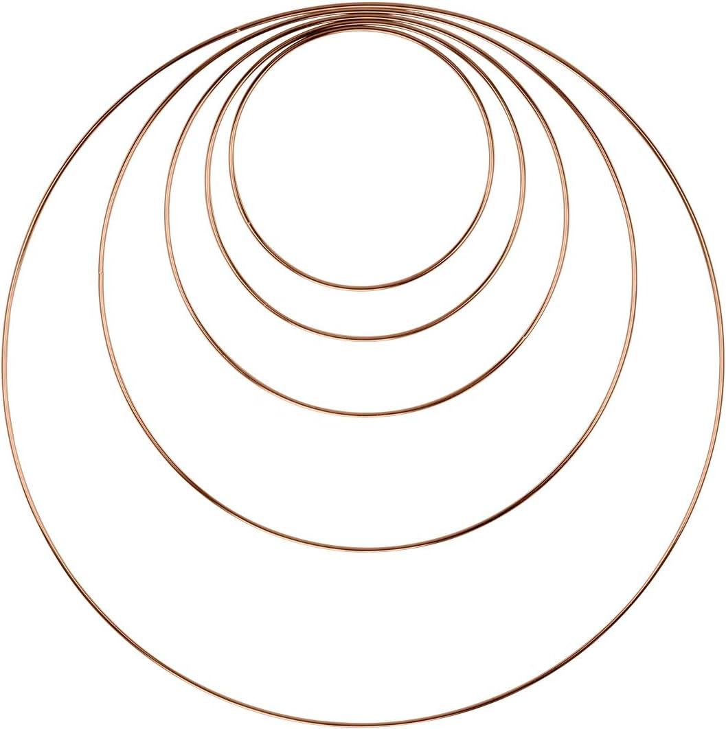 Koyal Wholesale 5 PC Rose Gold Metal Hoops, DIY Hoop Wreaths, Floral Hoop Wreaths, Macrame Dream Catcher, Hanging Hoop Sign, Hoop Wedding Bouquet, Wall Hanging Decor for Wedding, Home Decor, Nursery