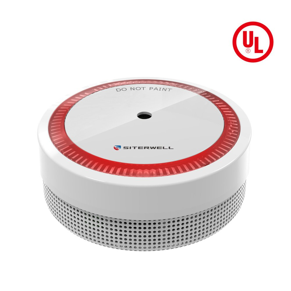 SITERWELL Mini Smoke Detector and Battery Operated Smoke and Fire Alarm 10 Years Photoelectric Micro Smoke Alarm with UL Listed Test Silence Button GS522C