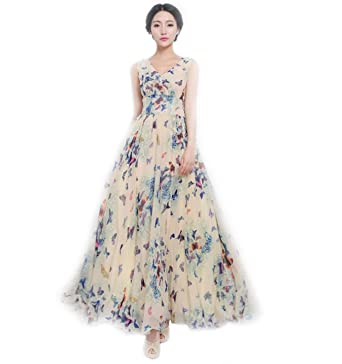 1d4fe1a54887 43 City Women s Casual Summer Elegant BoHO Maxi Floral Long Sundress Dress  at Amazon Women s Clothing store
