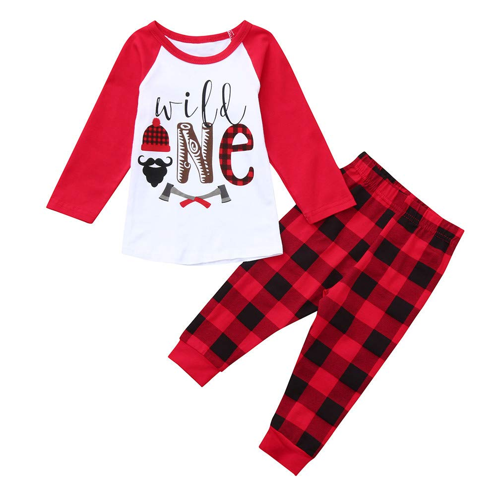 Toddler Kids Baby Long Sleeve Letter Printed Tops+Plaid Pants Christmas Outfits Clothes Set Clearance ZHANGVIP
